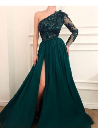 dunkel grüne abendkleider mit Ärmel  spitze abendkleid chiffonabendkleiderkleider für