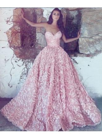 Luxus Abendkleider Lang Rosa | Spitze Abendmoden Online ...