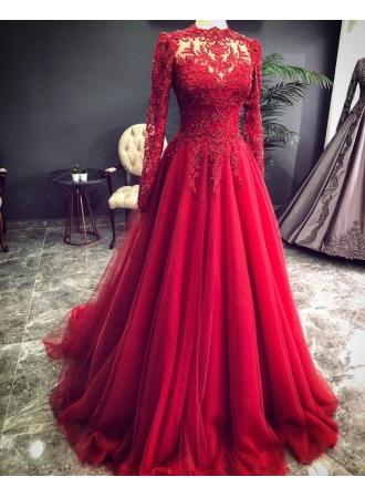 luxus rote abendkleider mit Ärmel  abendmoden mit spitzeabendkleiderkleider für besondere