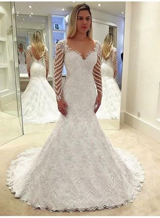 elegante weiße brautkleider spitze günstig hochzeitskleider mit Ärmelbrautkleider mit Ärmel