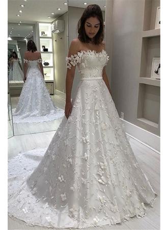Fashion Brautkleid A Linie   Hochzeitskleider mit Spitze Online_A-Linie Brautkleider_Brautkleider_Brautkleider,Abiballkleider,Abendkleider