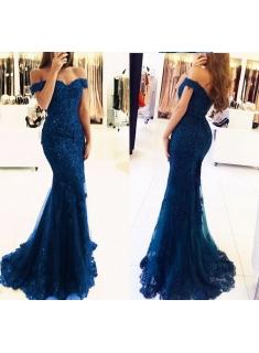 elegante abendkleider lang günstig mit spitze meerjungfrau ballkleider lang dunkelblau
