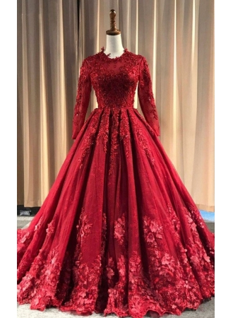 Rote Abendkleider Lang Günstig | Spitze Abiballkleider mit Ärmel_Abendkleider_Kleider für Besondere Anlässe_Brautkleider,Abiballkleider,Abendkleider