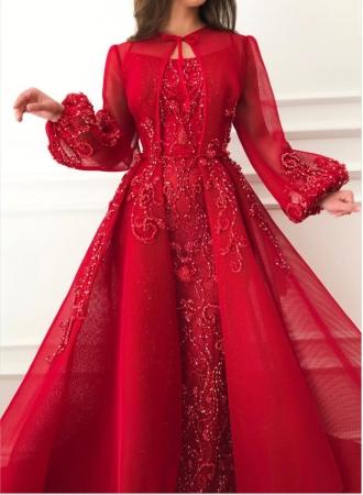 luxus abendkleider mit Ärmel  rote abendkleid lang günstigabendkleiderkleider für besondere