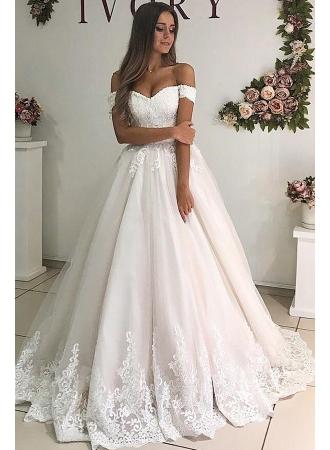 Elegante Brautkleider A Linie   Hochzeitskleider mit Spitze Online_A-Linie Brautkleider_Brautkleider_Brautkleider,Abiballkleider,Abendkleider