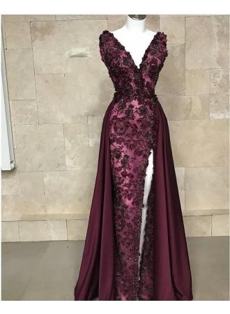 luxus abendkleider weinrot  spitze abiballkleider lang günstigabendkleiderkleider für