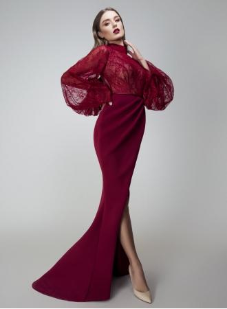 elegante abendkleider rot spitze  abiballkleider lang mit Ärmelabendkleiderkleider für