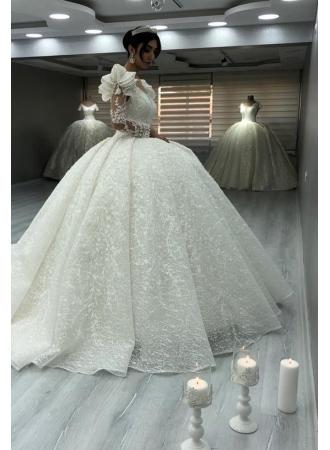 Elegante Brautkleider Luxus   Spitze Hochzeitskleider mit Ärmel_Brautkleider Mit Ärmel_Brautkleider_Brautkleider,Abiballkleider,Abendkleider