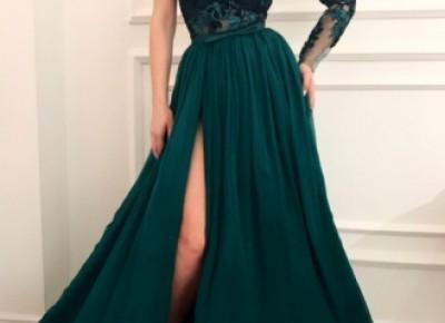 Dunkel Grüne Abendkleider mit Ärmel | Spitze Abendkleid Chiffon_Abendkleider_Kleider für Besondere Anlässe_Brautkleider,Abiballkleider,Abendkleider