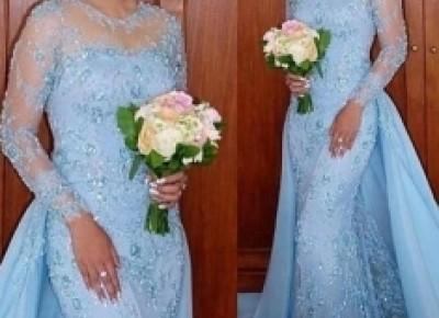 Sexy Himmel Blau Abendkleider Spitze Chiffon Kleider Abendmoden Mit Ärmel