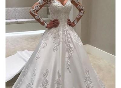 Designer Brautkleider Mit Ärmel | Spitze Hochzeitskleid A Linie_A-Linie Brautkleider_Brautkleider_Brautkleider,Abiballkleider,Abendkleider