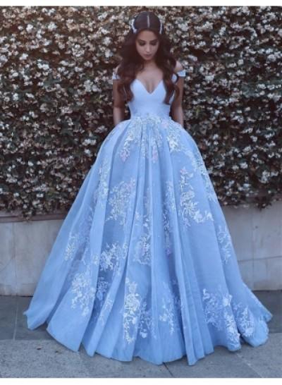 Designer Blau Abendkleider Lang Mit Spitze Träger A Linie Abendmoden Ballkleider