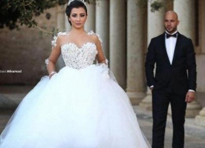 Designer Brautkleid mit armel | Prinzessin Hochzeitskleid mit Spitze | Babyonlinedress.de