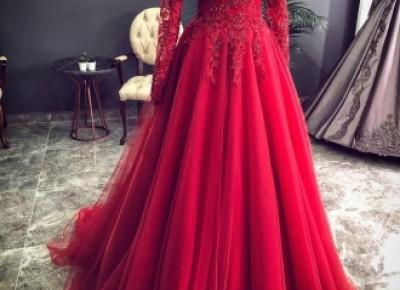 Luxus Rote Abendkleider Mit Ärmel | Abendmoden Mit Spitze_Abendkleider_Kleider für Besondere Anlässe_Brautkleider,Abiballkleider,Abendkleider