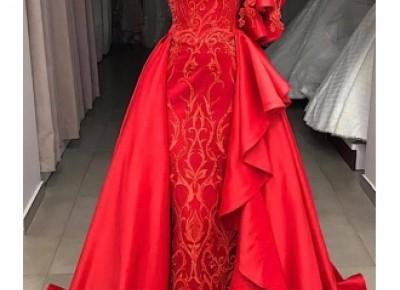 Elegante Rote Abendkleider Lang Günstig | Abendkleid mit Spitze_Abendkleider_Kleider für Besondere Anlässe_Brautkleider,Abiballkleider,Abendkleider