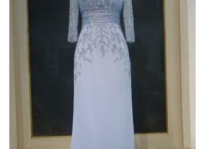 Elegante Abendkleider mit Ärmel Blau Chiffon Bodenlang Abiballkleider Abendmoden