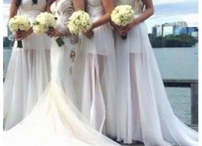 Elegante Weiße Brautjungfernkleider Lang Chiffon Kleider Für Brautjungfern Online