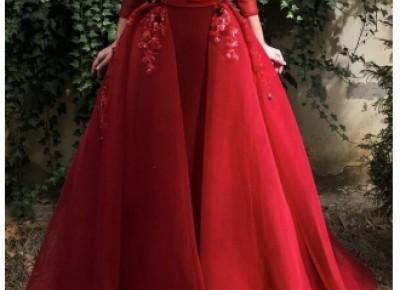 Designer Abendkleider Mit Ärmel | Weinrot Abendmoden Online_Abendkleider_Kleider für Besondere Anlässe_Brautkleider,Abiballkleider,Abendkleider
