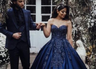 Elegante Abendkleider Prinzessin | Blaues Abendkleid Mit Spittze | Babyonlinedress.de
