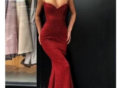 Elegante Rote Abendkleider Lang | Abiballkleider Mit Glitzer Günstig_Abendkleider_Kleider für Besondere Anlässe_Brautkleider,Abiballkleider,Abendkleider
