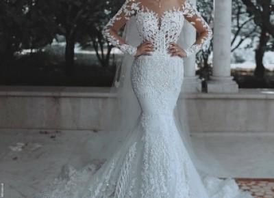 Luxury Brautkleider Spitze Weiße Hochzeitskleider Mit Ärmel Schleier_Brautkleider Mit Ärmel_Brautkleider_Brautkleider,Abiballkleider,Abendkleider