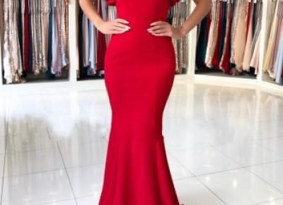 Schlichte Rote Abendkleider Lang Günstig | Rückenfrei Abendmoden Online_Rabatt Kleidung_Brautkleider,Abiballkleider,Abendkleider