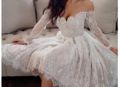 Modern Weiße Brautkleider Kurz A Linie Knielange Hochzeitskleider Mit Ärmel