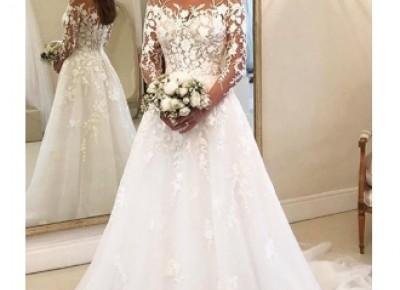 Elegante Brautkleider A Linie Mit Ärmel | Günstige Hochzeitskleider mit Spitze_Brautkleider Mit Ärmel_Brautkleider_Brautkleider,Abiballkleider,Abendkleider