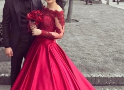 Fashion Rote Brautkleider Mit Ärmel Spitze A Linie Hochzeitskleider Online Kaufen