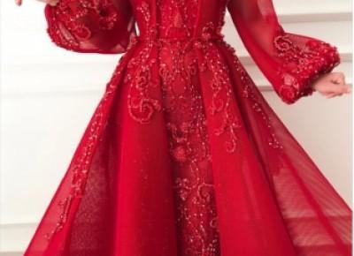 Luxus Abendkleider Mit Ärmel | Rote Abendkleid Lang Günstig_Abendkleider_Kleider für Besondere Anlässe_Brautkleider,Abiballkleider,Abendkleider