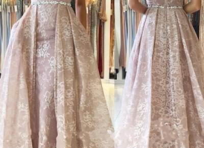 Rosa Abendkleider Lang Günstig | A Linie Spitze Abendkleid Online_Abendkleider_Kleider für Besondere Anlässe_Brautkleider,Abiballkleider,Abendkleider