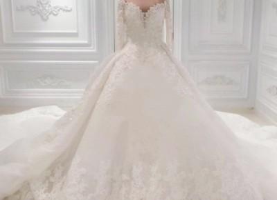 Elegante Brautkleid Mit Ärmel | A Linie Hochzeitskleid Mit Spitze_A-Linie Brautkleider_Brautkleider_Brautkleider,Abiballkleider,Abendkleider