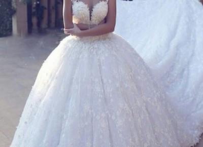 Elegante Brautkleider Prinzessin | Weiße Spitze Hochzeitskleider Online_Brautkleider 2019_Brautkleider_Brautkleider,Abiballkleider,Abendkleider