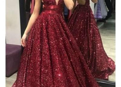 Rote Lange Abendkleider mit Glitzer | Ballkleider Online Kaufen_Abendkleider_Kleider für Besondere Anlässe_Brautkleider,Abiballkleider,Abendkleider