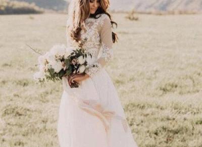 Modern Hochzeitskleid mit armel | Spitze Brautkleider Schlicht | Babyonlinedress.de