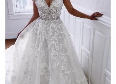 Elegante Brautkleider v Ausschnitt Mit Spitze | Hochzeitskleid A Linie Online_A-Linie Brautkleider_Brautkleider_Brautkleider,Abiballkleider,Abendkleider