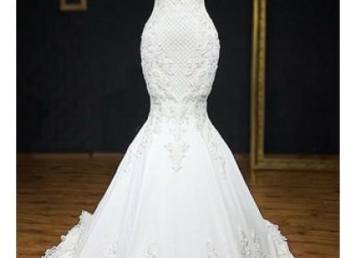 Weiße Brautkleid Meerjungfrau Günstig | Hochzeitskleider mit Spitze Online_Brautkleider Meerjungfrau_Brautkleider_Brautkleider,Abiballkleider,Abendkleider