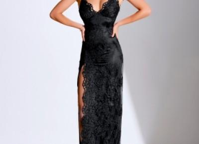 Elegante Abendkleider Lang Schwarz | Spitze Abendmoden Online_Abendkleider_Kleider für Besondere Anlässe_Brautkleider,Abiballkleider,Abendkleider