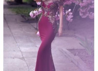 Designer Abendkleider Lang Günstig Perlen Festliche Kleider Abendmode