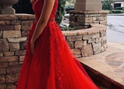 Modern Abendkleider Lang Rot | Spitze Abendkleid Tüll_Abendkleider_Kleider für Besondere Anlässe_Brautkleider,Abiballkleider,Abendkleider