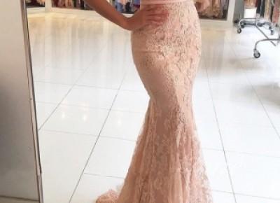 Rosa Abendkleider Lang Spitze Träger Meerjungfrau Abendmoden Partykleider Online