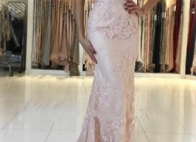 Rosa Abendkleid Spitze   Lange Abendkleider Günstig Online_Abendkleider_Kleider für Besondere Anlässe_Brautkleider,Abiballkleider,Abendkleider