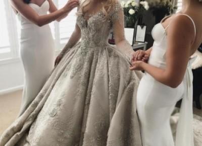 Luxus Brautkleider Mit Ärmel A Linie Hochzeitskleider Spitze Kaufen_Brautkleider Mit Ärmel_Brautkleider_Brautkleider,Abiballkleider,Abendkleider