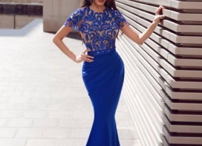 Elegante Abendkleider Mit Ärmel | Royal Blau Abiballkleider Mit Spitze_Abendkleider_Kleider für Besondere Anlässe_Brautkleider,Abiballkleider,Abendkleider
