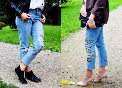 Jeansy z kwiatowymi naszywkami