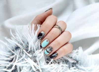 FIXATION.PL: Miętowo - srebrne geode nails | Suche marble - tutorial krok po kroku