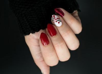 FIXATION.PL: Czerwony manicure - brokat i jarzębina | Jesienne zdobienie paznokci