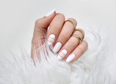FIXATION.PL: Białe paznokcie, negative space i złote drobinki | Ostatni wakacyjny manicure w tym roku