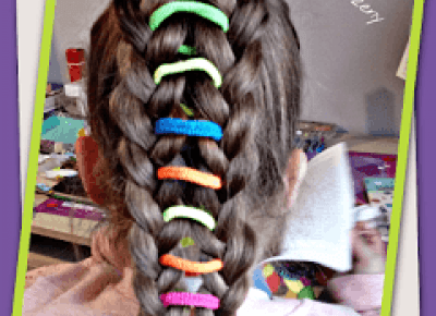 fryzurymarzeny: warkocz z kolorowymi gumkami czyli fryzura do szkoły