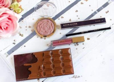 PIERWSZE WRAŻENIE: I heart chocolate salted caramel, nabla brow divine, Milani Rose Powder Blush, Pomadka Milani Amore Matte |  | HELLO FASHION